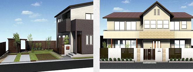 庭とエクステリアを分けずにトータルで家の景観を作っています