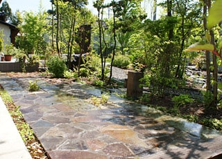 湧き水が流れる雑木の庭づくり
